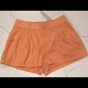 H & M Orange Silky Polyester Pleated Short